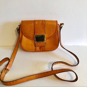 Franco Sarto Orange Alligator Embossed Crossbody